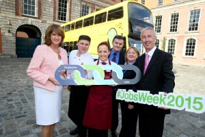 No Repro Fee….28-9-15……. Tánaiste Joan Burton encourages Jobseekers to attend the Intreo Careers Fair . Pic shows Tánaiste and Minister for Social Protection, Joan Burton, T.D. with from left , Doroka Wrobel , Irek Traskwsk who both work for D4 hotels , Paul Fitzsimons and Louise Kennedy both Dublin  Bus drivers with Kevin Humphreys TD, Minister of State at the Department of Social Protection with special responsibility for Employment, Community and Social Support .  Tánaiste and Minister for Social Protection, Joan Burton, T.D. today (Monday, 28th September 2015) encouraged jobseekers to attend the Intreo Careers Fair to meet with the many employers who are looking to fill opportunities across a wide range of jobs. This free-to-attend event takes place in the Printworks, Dublin Castle tomorrow from 10.00am to 4.00pm. The Intreo Careers Fair is an employer-led event that highlights vacancies and facilitates jobseekers in attaining expert career advice. Visitors to the event will be able to see for themselves the opportunities available from the 50 organisations and companies' attending including jobs, educational courses, advice on careers and personal development. There is something for everyone at the Intreo Careers Fair. The seminars running throughout the day cover topics ranging from 'Job Search Techniques (Social Media)' and 'Improve Your Job Seeking Skills' to 'Careers in Transport and the Recruitment Process' and 'Starting up a Business' The Intreo Careers Fair is one of over 160 events taking place during the Department's annual National Jobs Week, which takes place across the country from 28th September to 2nd October.   Pic Maxwell's - No Repro Fee   28-9-15